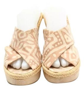 Stella McCartney Sandals Heels Wood Tan Cream/Peach Mules