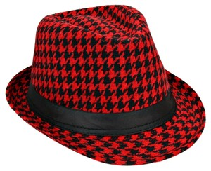 Red and Black Checkered Houndstooth Fedora Hat