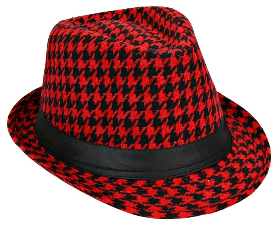 Black and Red Checkered Houndstooth Fedora Hat - Tradesy b03fbb4494e