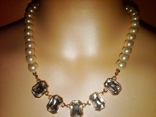 Charter Club Gold -tone Pearl And Clear Crystal Frontal Necklace