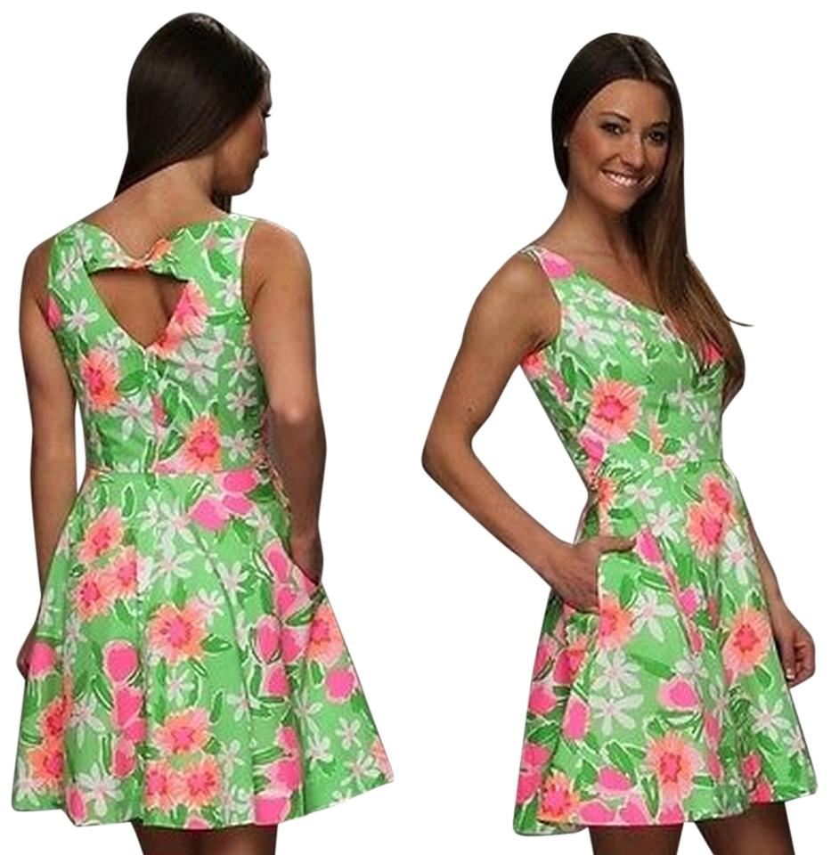 800749e4aa6 Lilly Pulitzer Green Pink White Freja Everything Nice Above Knee ...