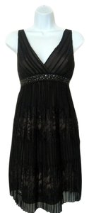 BCBGMAXAZRIA Silk Lace Cocktail Sequin Spagetti Strap Empire Waist Dress