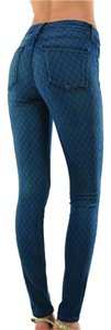 Just USA Soft Slim Diamond Zipper Celebrity Dark Stretchy Mid Rise Skinny Jeans-Dark Rinse