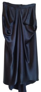 Donald Benwit Silk Draped Party Holiday Skirt Navy