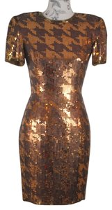 Other Sequin Houndstooth Pads Gold Dress