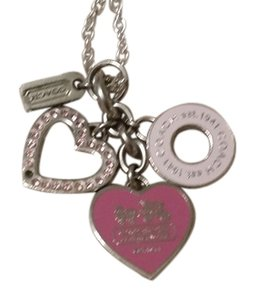 Coach Coach pink and silver charm necklace