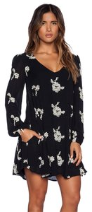 Free People short dress black Embroidered Long Sleeve on Tradesy