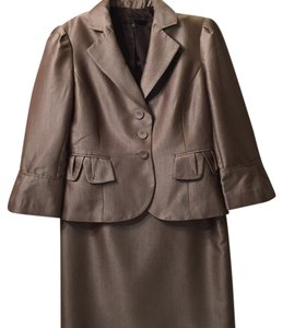 Nine West Nine West Three Quarter Taupe And Brown Skirt Suit