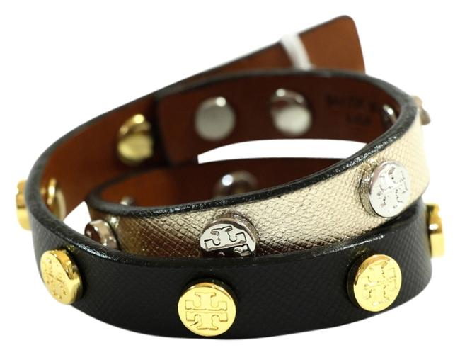 Item - Multi-color Stud Saffiano Leather Double Wrap Logo Bracelet