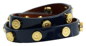 Tory Burch Tory Burch Patent Leather Foundation Double Wrap Logo Stud Bracelet