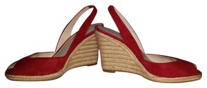 Michael Kors Espadrille Suede Leather Slingback Red Wedges
