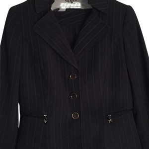 Tahari Black Textured Pinstripe Pants Suit