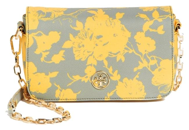 Item - Multi Color Yellow and Gray Leather Cross Body Bag