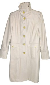 Kenneth Cole Single Breasted Designer's Designer's Buttons Polished Wool Trench Coat