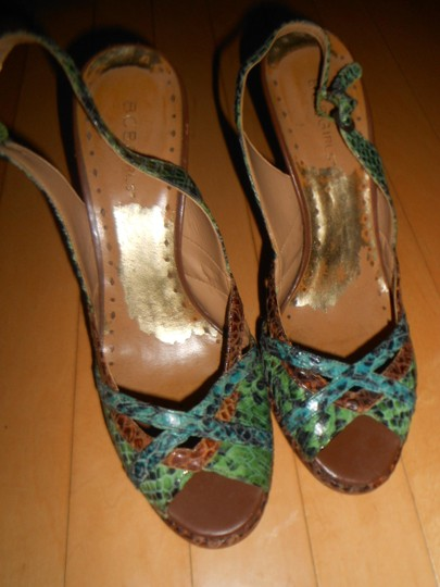 "BCBGMAXAZRIA Snake Skin 4"" Heel Sling Back Peep Toe Size 8.5 GREEN, BLUE, BROWN Pumps"