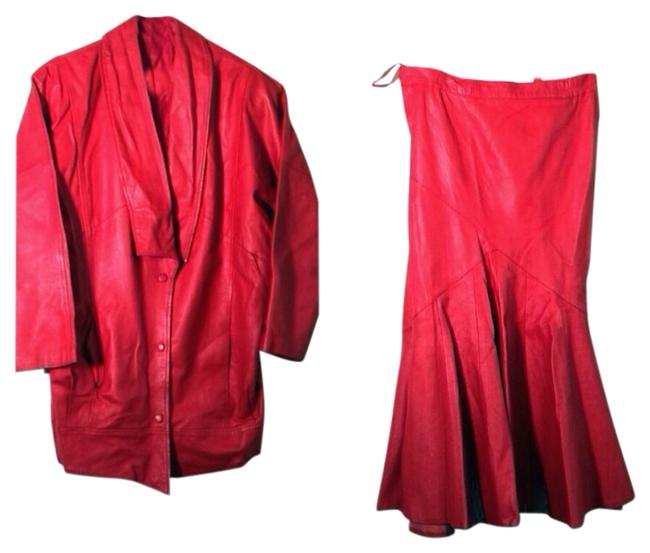 Preload https://item1.tradesy.com/images/red-leather-and-jacket-set-skirt-suit-size-6-s-1004725-0-0.jpg?width=400&height=650