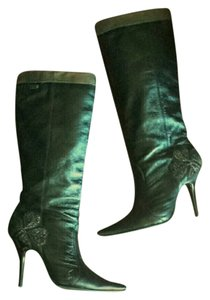 Miss Sixty Metallic Leather Pointed Toe Black Boots