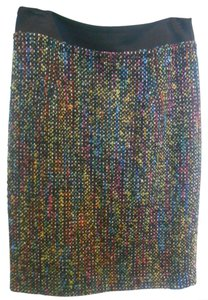 Trina Turk Work Office Professional Colors Tweed Zip Pencil Slit Waist Band Multi-colored High End Designer Luxury Luxe All Mini Skirt Black with multi