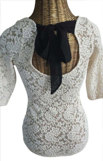 Unknown Lace Ribbon Top Ivory & Black