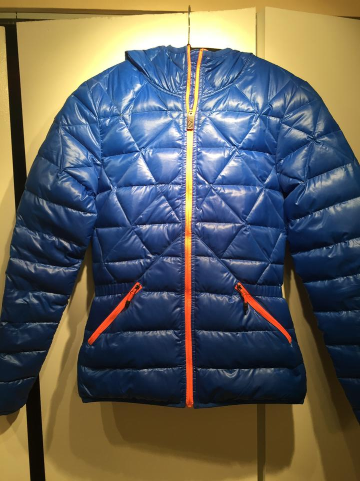 7bf26ff32 Nike Bright Blue and Neon Orange Quilted Puffer Jacket Size 0 (XS ...