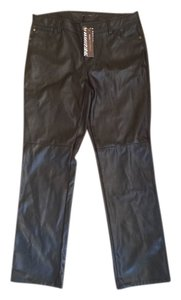 Dana Buchman Faux Leather Motorcycle Straight Pants Black