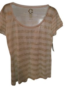 C. Wonder Foil Scoop Neck T Shirt white & gold