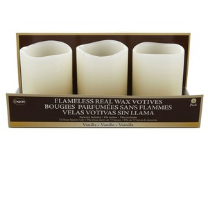 Cream/White Set Of 6 Real Wax Flameless Votive/Candle