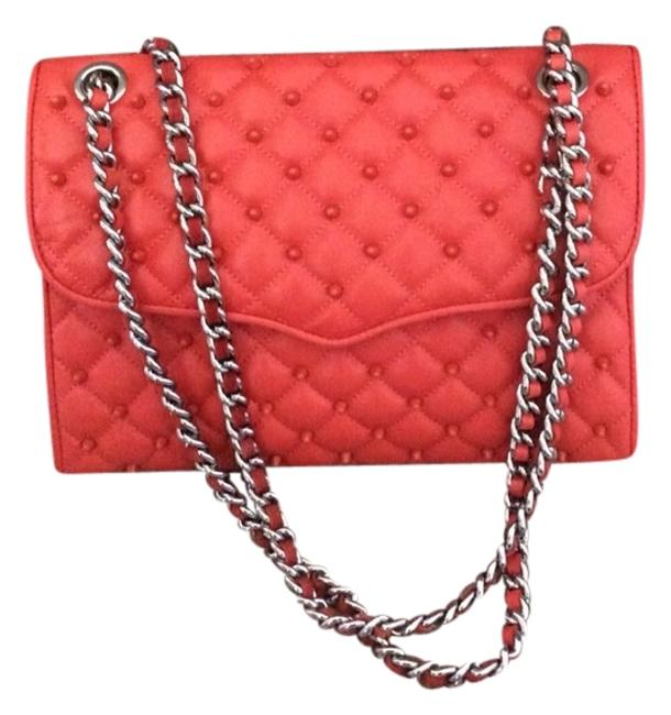 Item - W Quilted Affair Studs Coral Leather Messenger Bag
