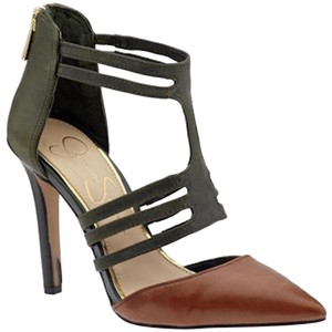 Jessica Simpson Clementh T-strap Stiletto Pointed Toe Designer Heels Work Heels T Strap Pointed Toe T Strap Heels Brown & Green Pumps
