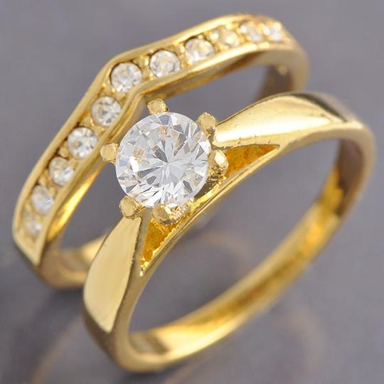 9k Gold Filled White Topaz Wedding Set