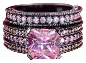 6.8ct Pink Topaz and Black Gold Filled Wedding Ring Set