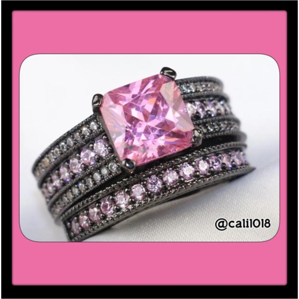 Black & Pink 6.8ct Topaz and Gold Filled Wedding Set Ring - Tradesy