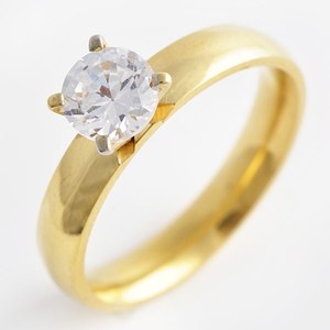 Solitaire Stainless Steel Goldtone Engagement Ring Free Shipping