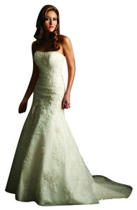 Allure Bridals White Satin/Tulle/Lace Edition P907 Modern Wedding Dress Size 12 (L)