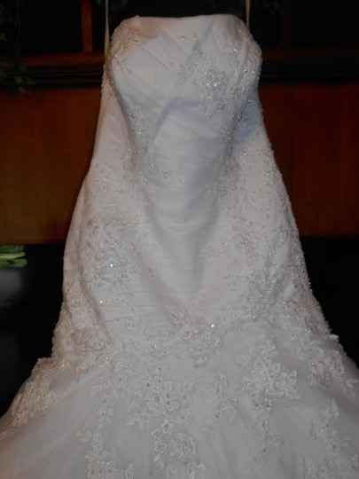 White Satin/Tulle/Lace P907 Traditional Wedding Dress Size 12 (L)