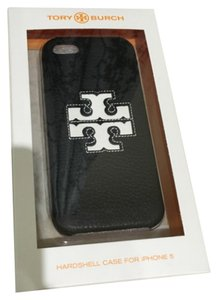 Tory Burch Tory Burch Jessica Hardshell Iphone 5/5S Case Black Leather White NEW