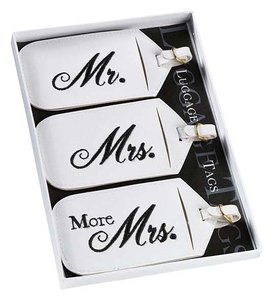White Mr. and Mrs. Tags Luggage