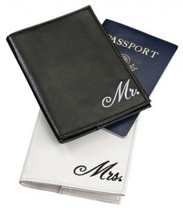 White Mr. and Mrs. Passport Covers Luggage