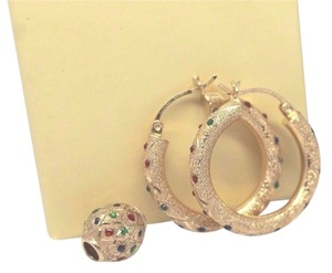 14k Gold Matching Hoop Earrings and Bead Pendant
