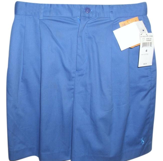 Item - Blue Golf Medium with Front & Back Pockets and Pleats Walking Length Cotton Shorts Size 4 (S, 27)