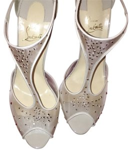 Christian Louboutin Heels Wedding Party Loubis Beige with swarovski crystals Formal
