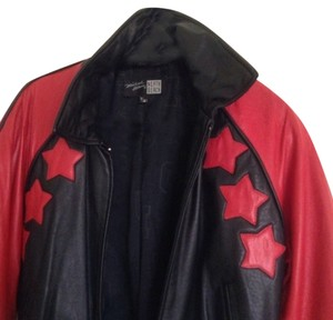 North Beach Leather Vintage Hobo Monogram black & red Leather Jacket