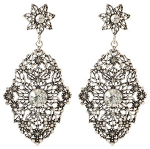 Amrita Singh Amrita Singh Antique Gun Metal Silver Plate Crystal Hand of Fatima Lg Filagree Earrings
