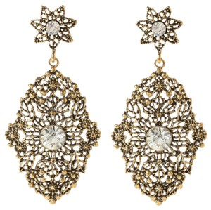 Amrita Singh Amrita Singh Antique Gypsy Look Gold Plate Crystal Hand of Fatima Lg Filagree Earrings