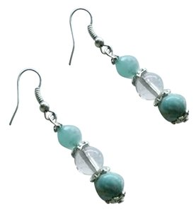 Blue adventurine, quartz crystal beaded earrings