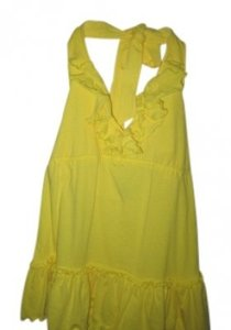 Moda International Ruffles Halter Yellow Halter Top