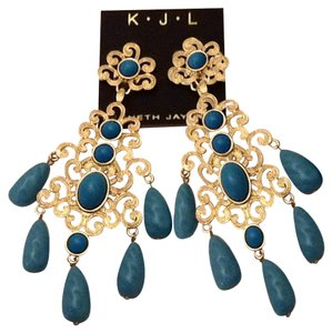 Kenneth Jay Lane Kenneth Jay Lane Turquoise Filigree Chandalier Earrings