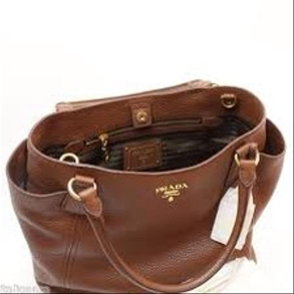 ab3ecc6f8f77 Prada Sacca 2 Manici Brown Leather Shoulder Bag - Tradesy