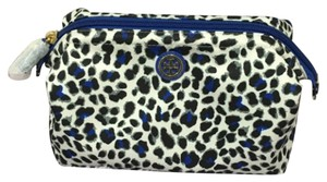 Tory Burch Tory Burch Printed Large Molded Slouchy Cosmetic Case Nylon Snow Leopard All Over Pop Jelly Blue White Black NEW