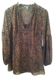 DKNY Top Brown Black Gold